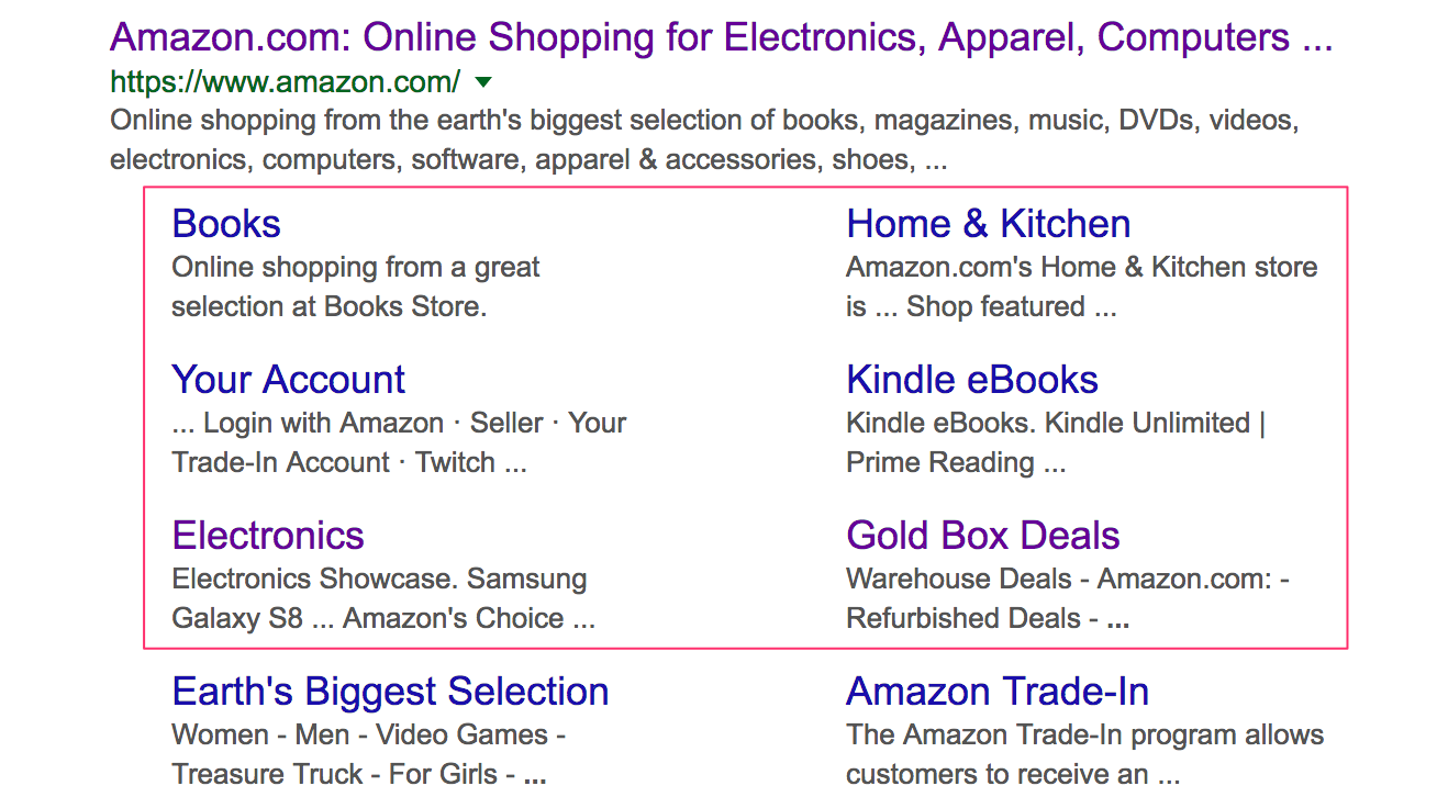 screenshot of amazon sitelinks in google