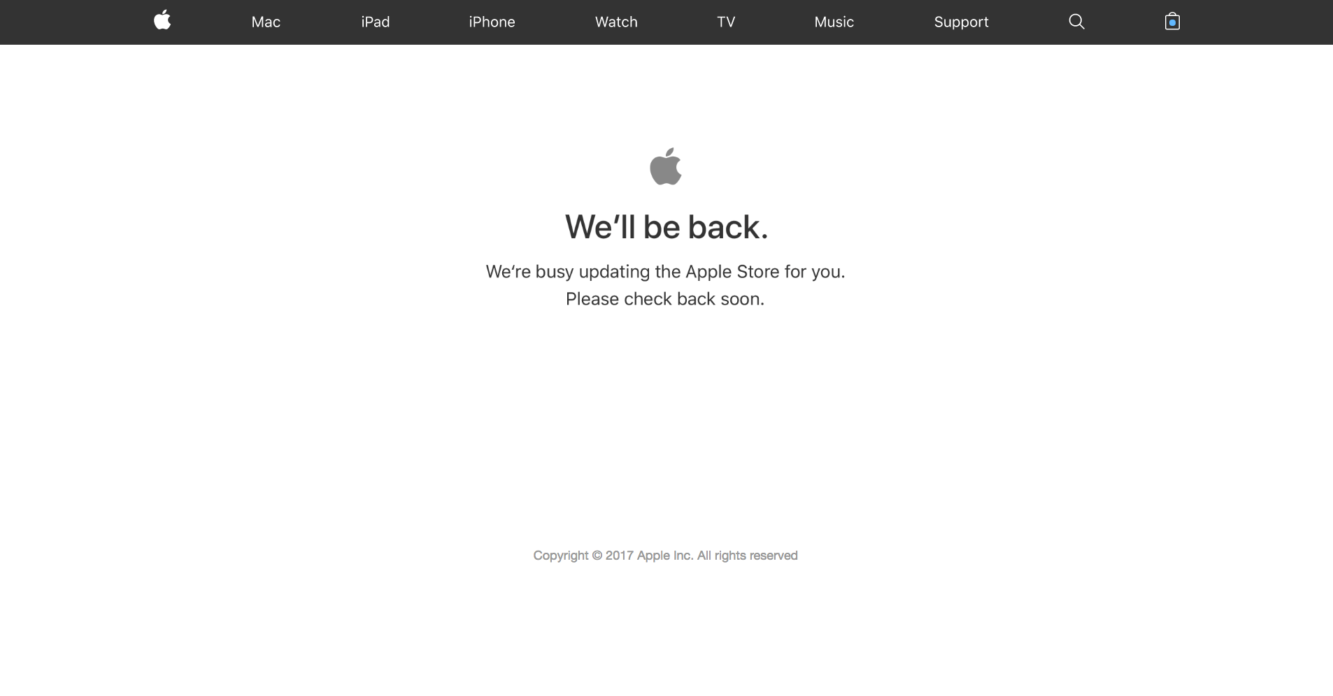 Screenshot of apple store down