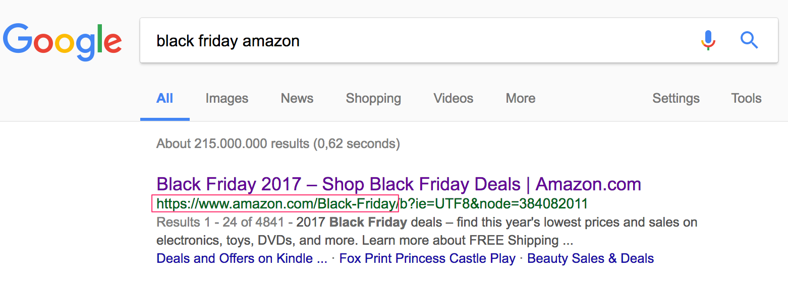 screenshot of amazon black friday landing page