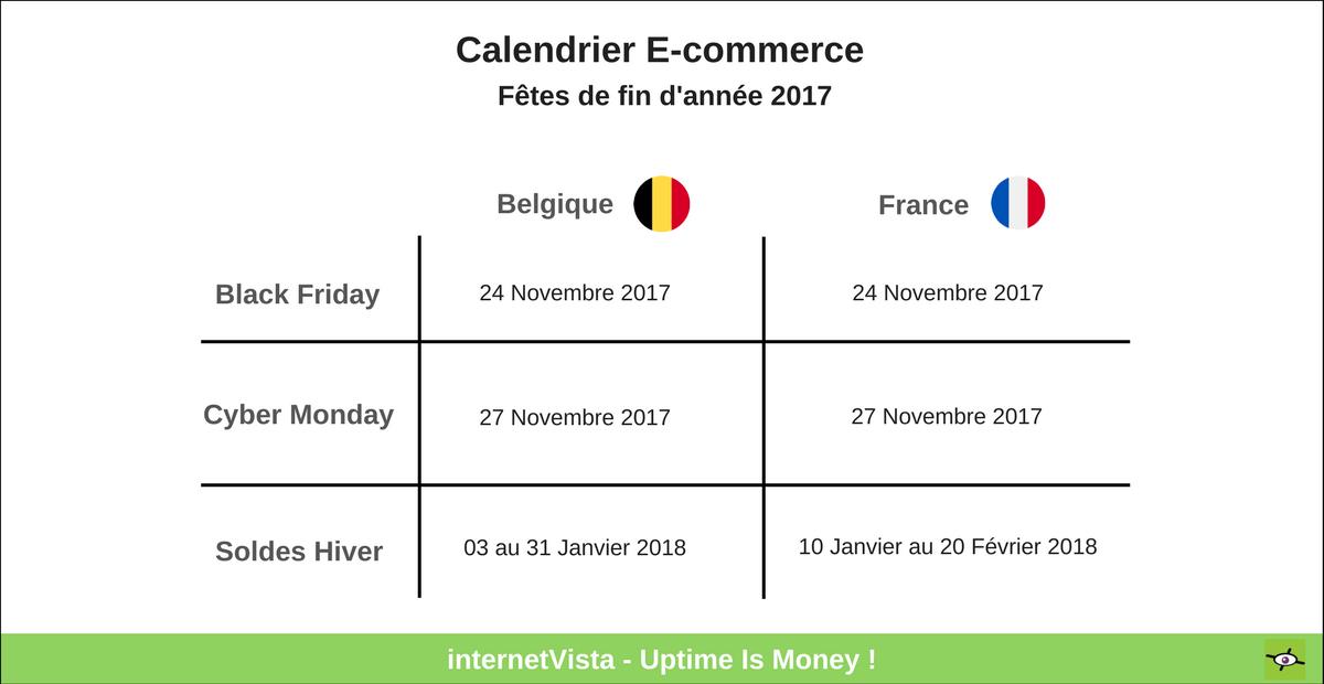 Calendrier e-commerce fêtes de fin d'année 2017