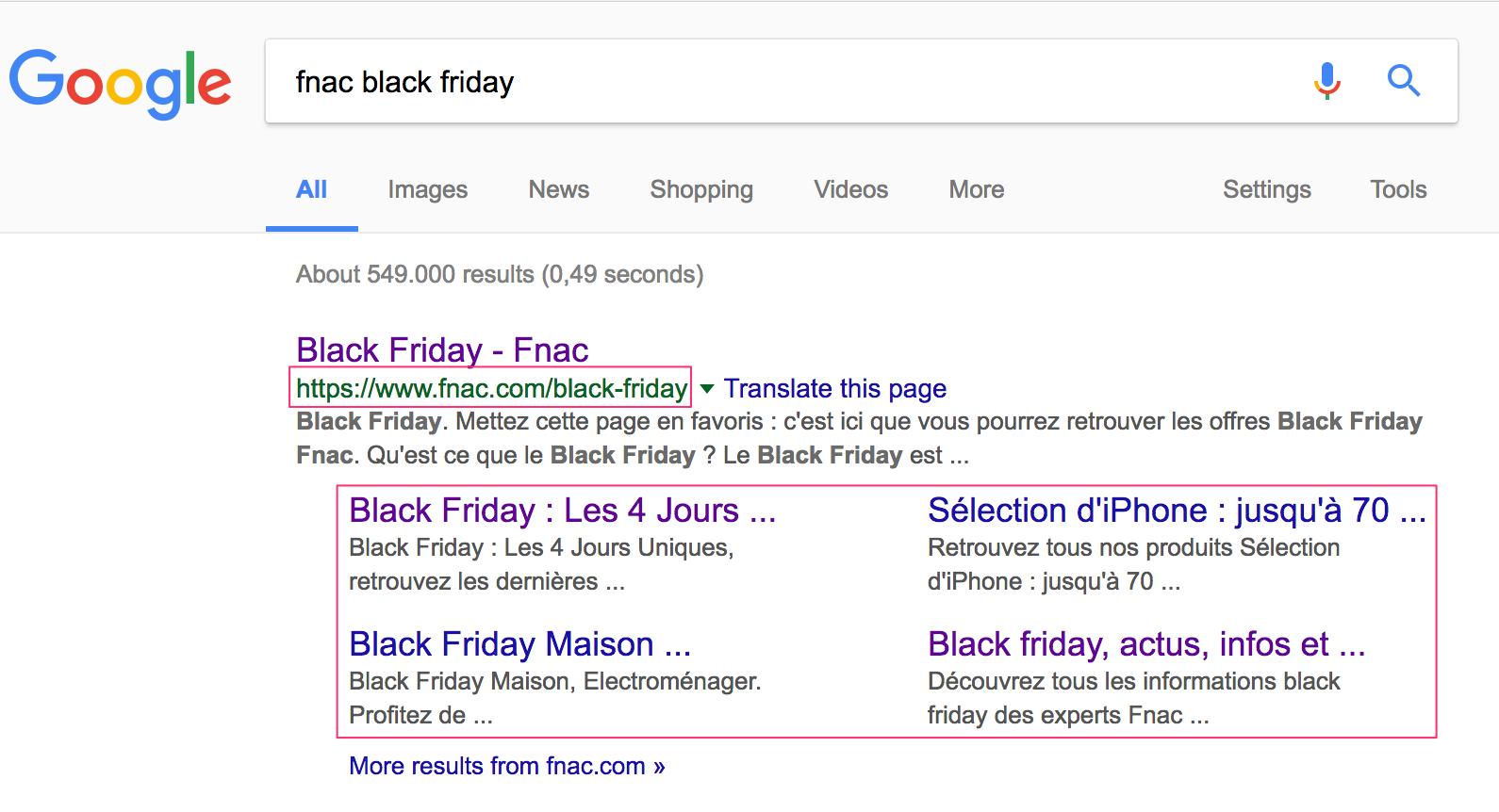 capture d'écran résultat google pour fnac black friday