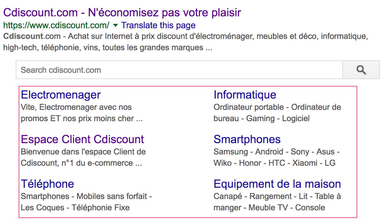 Capture d'écran des sitelinks dans la SERP Google pour Cdiscount