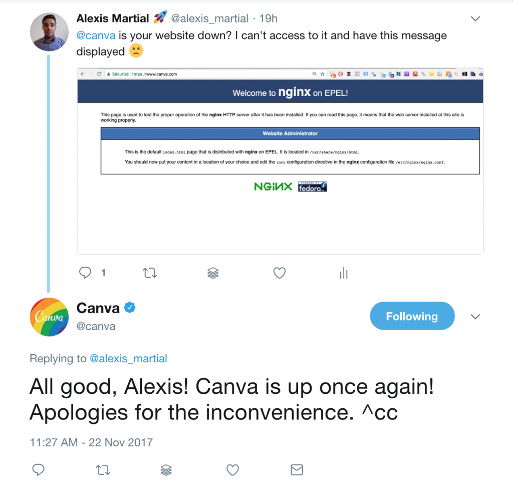 canva replying on twitter about website outage